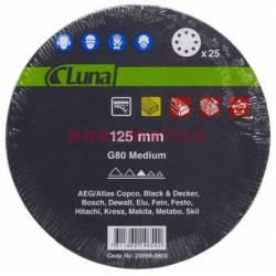 Krążek ścierny papierowy 125 G80 8-H NO-FILL - Luna