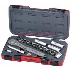 """18-elementowy zestaw narzędzi nasadowych nierdzewnych z chwytem kwadratowym 1/2"""" TS1218 - Teng Tools"""
