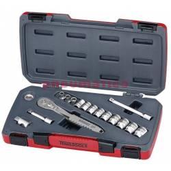 """16-elementowy zestaw narzędzi nasadowych nierdzewnych z chwytem kwadratowym 3/8"""" TS3816 - Teng Tools"""