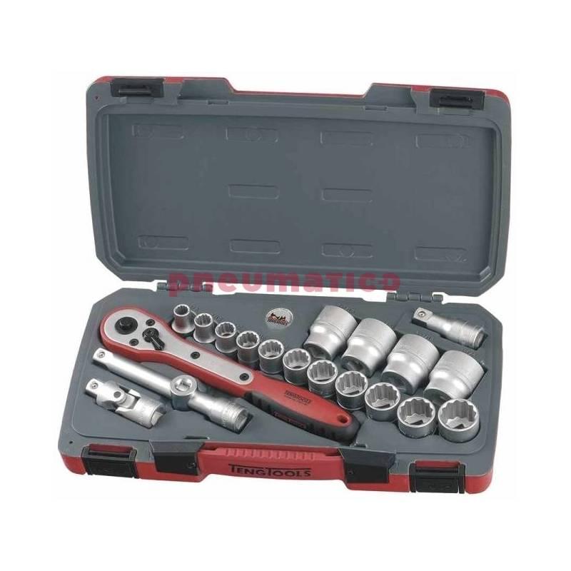 """20-elementowy zestaw narzędzi nasadowych calowych z chwytem kwadratowym 1/2"""" T1220AF - Teng Tools"""