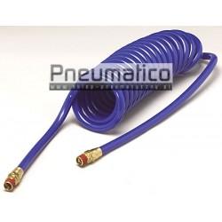 Wąż spiralny PU 10x16mm 15m prosta końcówka i szybkozłącza