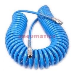 Wąż spiralny PU 12x18mm 15m prosta końcówka i szybkozłącza