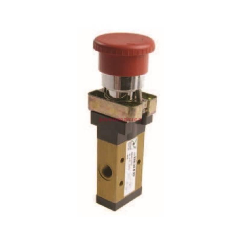 Zawór ręczny - przycisk awaryjny, panel 22, 2-pozycyjny 3/2 PNEUMAX