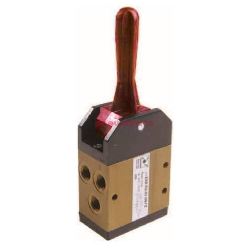 Zawór ręczny - dźwignia w osi, 3-pozycje, powrót do środka sprężyną 5/3 PNEUMAX