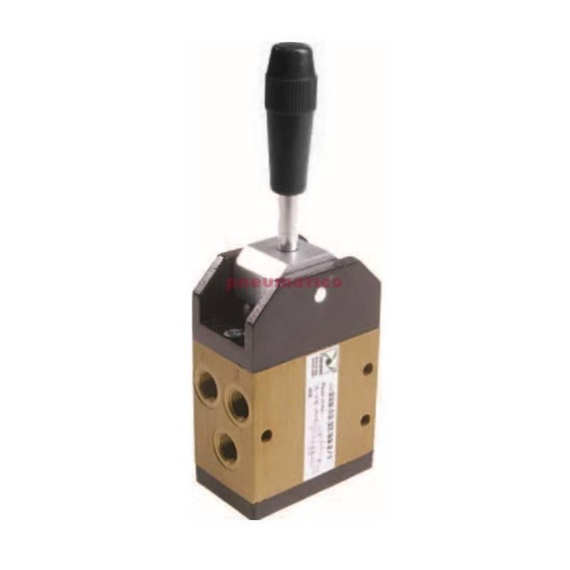 Zawór ręczny - dźwignia metalowa w osi, 3-pozycje 5/3 PNEUMAX