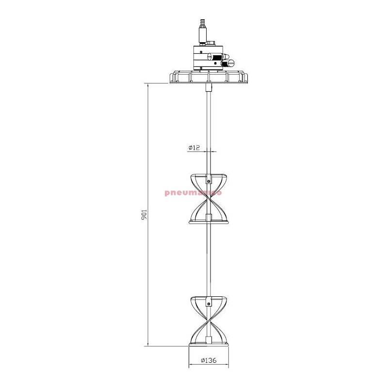 Mieszadło pneumatyczne Pneumatico P-2/65-750XL-INOX ATEX