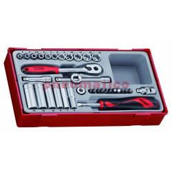 """Zestaw kluczy nasadowych z chwytem ¼"""" Teng Tools"""