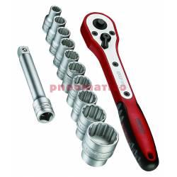 """Zestaw narzędzi nasadowych z chwytem kwadratowym 1/2"""" M1212N1 - Teng Tools"""