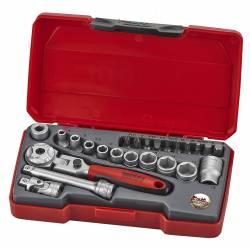"""Zestaw kluczy nasadowych z chwytem kwadratowym 1/4"""" T1424S - Teng Tools"""