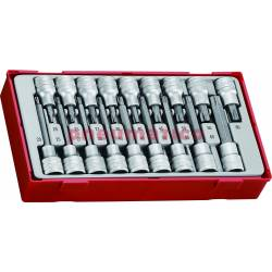 """18-elementowy zestaw grotów nasadkowych typu TX z chwytem kwadratowym 1/2"""" TTTX18 - Teng Tools"""