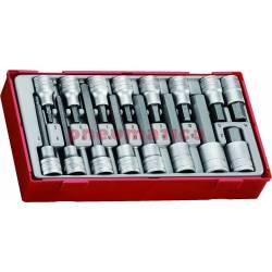 """16-elementowy zestaw grotów wymiennych typu imbus z chwytem kwadratowym 1/2"""" TTHEX16 - Teng Tools"""