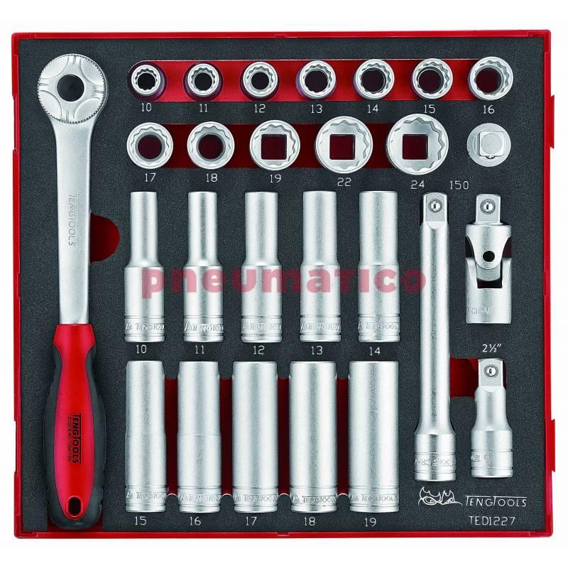 """27-elementowy zestaw narzędzi nasadkowych z chwytem kwadratowym 1/2"""" TED1227 - Teng Tools"""