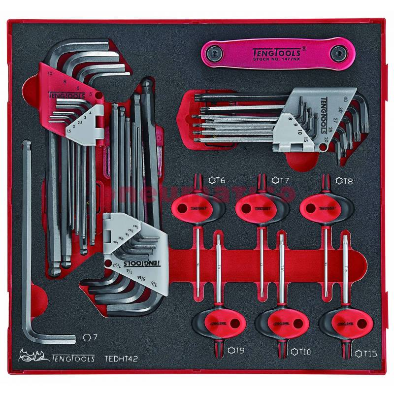 42-elementowy zestaw nasadek trzpieniowych TX i sześciokątnych TEDHT42 - Teng Tools