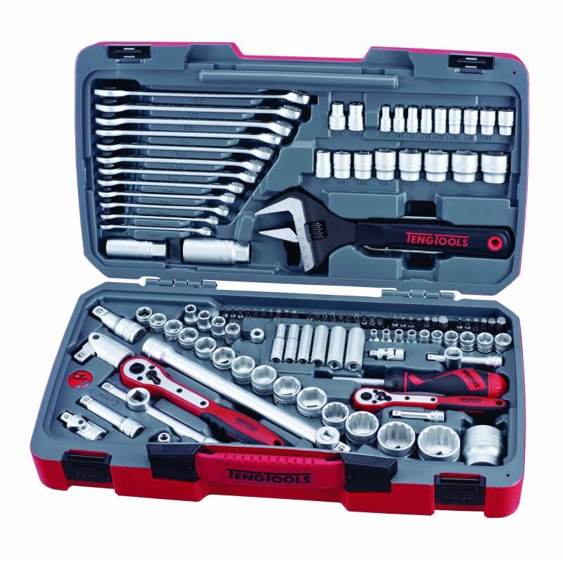 """127-elementowy zestaw narzędzi nasadowych. Z chwytem kwadratowym 1/4"""", 3/8"""" i 1/2"""" TM127 - Teng Tools"""