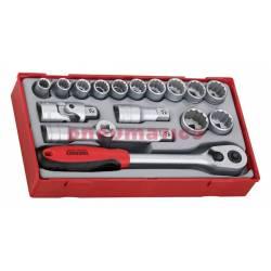 """Zestaw kluczy nasadowych. Z chwytem ½"""" Teng Tools TT1218"""