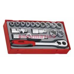 18-elementowy zestaw kluczy nasadowych. Z chwytem kwadratowym 12 - Teng Tools